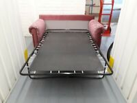 Maroon / Red Floral 2 Seater Sofa Bed Settee Like New Condition Easy action Metal Small Double Bed