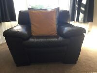3 seater leather settee and large chair