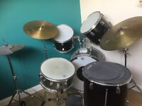 Full size drum kit with optional silencer pads