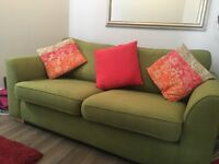 3-seater lime green sofa from DFS