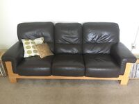 Oak Wood Sofa with Brown Leather
