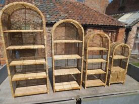 Sets of Bamboo Shelving, arched top, dismantles and fits together, In unused, as new condition