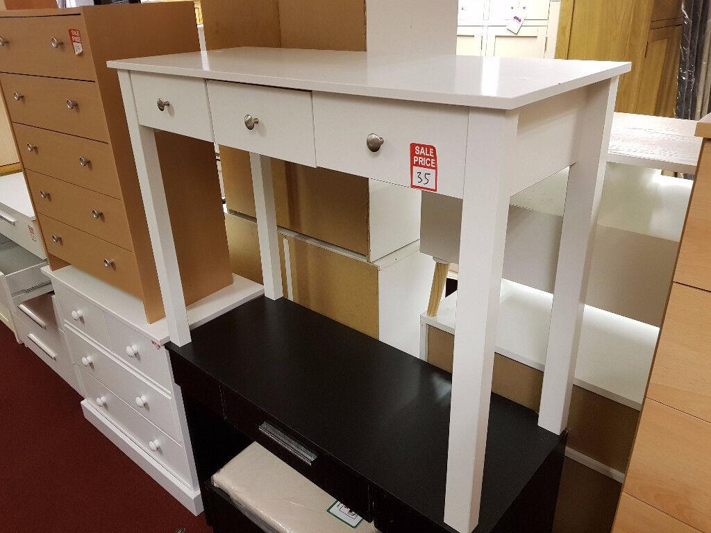 osaka 3 drawer white dressing table