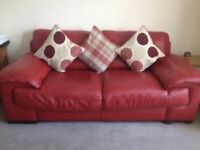 Lovely Red Leather Sofa - Good Condition