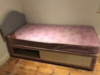 Single bed mattress and headboard with storsge