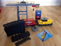 Collectable Playmobil Train 5258 remote control with the pm cargo 03 Crane and boxes works perfectly