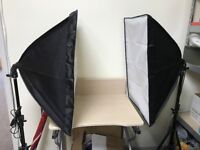 2x Photography Studio Softbox Continuous Lighting Light Stand Kit+backdrop+bag