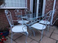 *~* GARDEN/PATIO FURNITURE WROUGHT IRON/SHABBY CHIC/DISTRESSED *~*