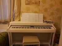 Kawai CN33 white digital piano with matching stool with storage
