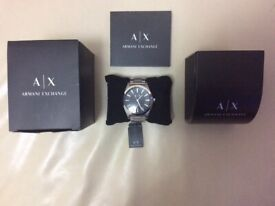 MENS ARMANI EXCHANGE SILVER WATCH IN BOX WITH USER MANUALS EXCELLENT CONDITION