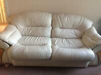 Cream leather 3seater chair and puffy