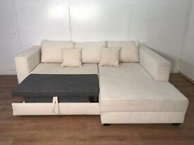 Cream corner sofa bed with free delivery within 10 miles