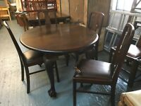 SOLID WOOD 1040'S DINNING TABLE WITH FOUR CHAIRS