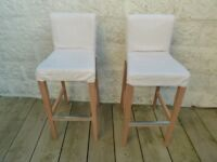IKEA HENRIKSDAL Bar stools with backrest and removable Covers (half price RRP £130, £65 each)