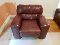 Brown leather sofa and armchair (used)