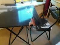 Foldable desk and chair