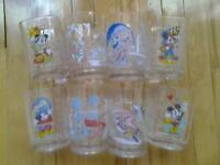 SET OF 8 WALT DISNEY LARGE GLASEES ALL DIFFERENT CHARCTERS