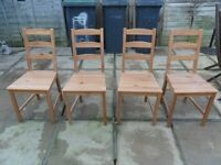 PINE CHAIRS X 4 VERY LIGHT MARKS AS NOT NEW-NO TEXTING-PICK UP FROM GOSPORT PO12- SORRY NO OFFERS