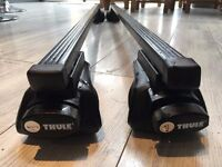Thule roof bars square 120cm 761 & rapid rail feet 757, used once