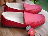 Ladies Red Leather Shoes---size 7----Brand New with Tags!