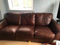 2 X 3 seater leather sofas