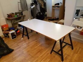 White table top and tressels. For designer, studio or fashion ( price drop )