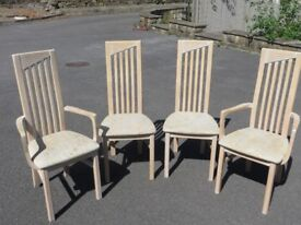 4 dining chairs 2 carvers and 2 side upholstered seats