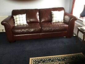 Reid's leather Dark Brown large 2/4 seater settees and Armchair can be sold separately