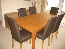dining table and 6 leather chairs extendable