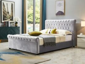 king and double size plush velvet sleigh bed