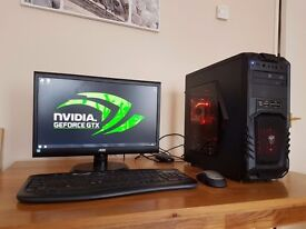"""Gaming PC with 22"""" AOC monitor"""