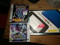Blue 3ds xl, charger, Pokemon ultra moon and Pokemon crystal (unused digital code)