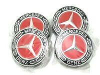 4x Mercedes Benz Alloy Wheel Centre Caps 75mm Badges RED Hub Emblem -