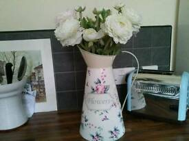 Vintage cream floral french jug with flowers