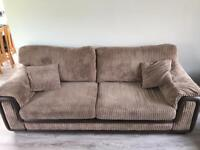 4 Seater Brown Sofa and Footstool