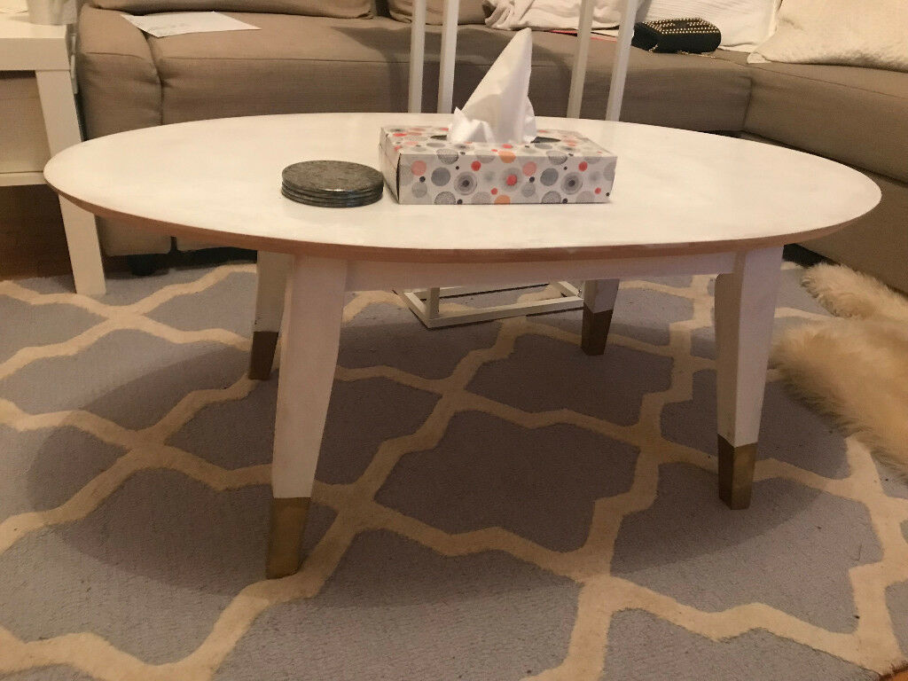 White Coffee Table With Gold Accent Legs For Sale In West - White coffee table with gold legs