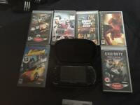 Psp with case, docking station, full length charger, 7 games, 2 films
