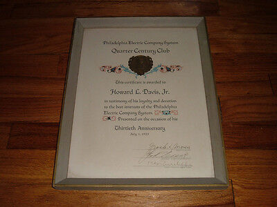 1955 Philadelphia Electric Company System Framed award Certificate Ben Franklin