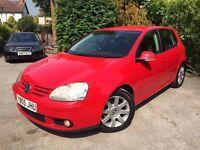 **1 PREV OWNER** 2005 VOLKSWAGEN GOLF GT TDI 2.0 RED MK5 6 SPEED 5 DOOR 140 BHP