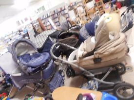 various prams/car seats/moses baskets/strollers - House of Hope Charity Shop