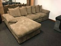 3 Seater Left Hand Scatter Back Fabric Corner Chaise Sofa in Mocha or Charcoal Was £899 Now £499