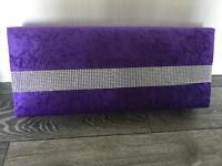 Purple crushed velvet pelmet