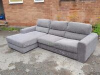 Lovely 1 month old grey fabric corner sofa. used for few days.clean and tidy. can deliver