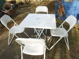 PATIO GARDEN TABLE & CHAIRS - SHABBY CHIC - FOLD AWAY