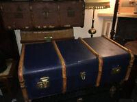 Striking Blue Vintage Steamer Trunk Coffee Table Toy Blanket Storage Chest