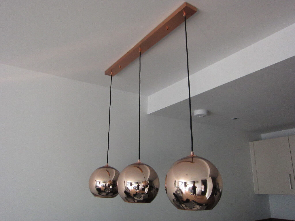 tom dixon style lighting. Tom Dixon Style Copper Pendant Lights, 3 X 25cm In Single Fixture Lighting