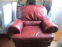 Leather Armchair & Pouffe