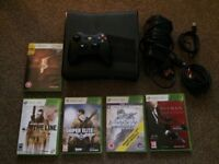Xbox 360 250g with 5 games