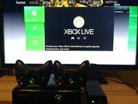 Xbox 360 Slim 250gb (box, 2 controllers, 18 games, keyboard & remote)
