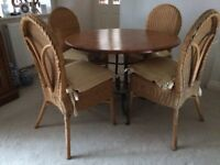 Pine Dining Room Table plus 4 High Backed Wicker Chairs